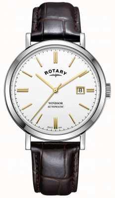 Rotary Cinturino in pelle con quadrante bianco con quadrante argentato GS05315/02