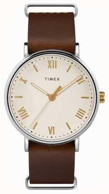 Timex Quadrante color crema da uomo con cinturino in pelle marrone southview da 41 mm TW2R80400