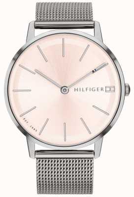 Tommy Hilfiger Cinturino in maglia color argento con orologio pippa da donna 1781935