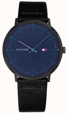 Tommy Hilfiger Mens james orologio quadrante blu cinturino in pelle nera 1791462