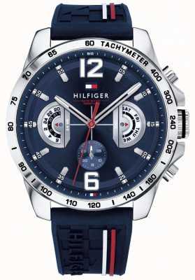 Tommy Hilfiger Mens decker orologio blu quadrante cinturino in caucciù blu 1791476