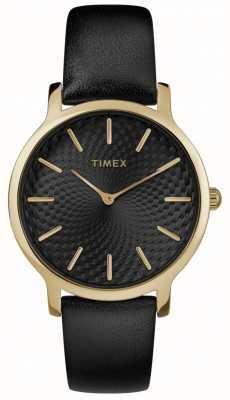 Timex Quadrante nero da donna con quadrante nero con cinturino in pelle nera da 34 mm TW2R36400