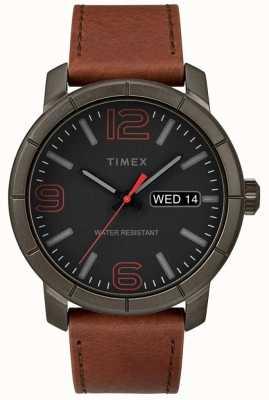 Timex Quadrante nero con cinturino in pelle marrone scuro mod 44 uomo TW2R64000
