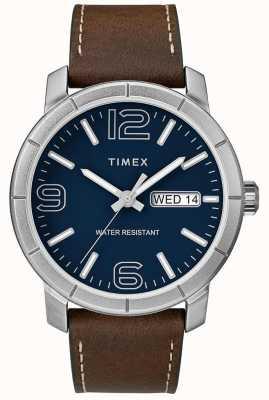 Timex Quadrante blu con cinturino in pelle marrone 44 mod uomo TW2R64200