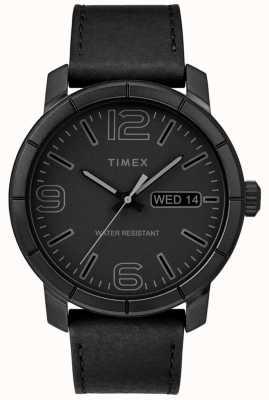 Timex Quadrante nero mod 44 in pelle nera con cinturino in pelle TW2R64300