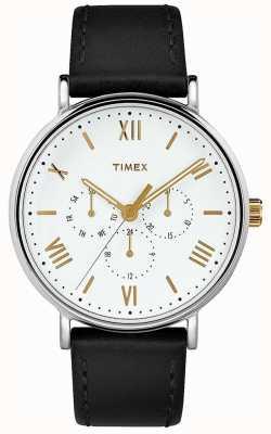 Timex Quadrante bianco con cinturino in pelle nera da 41 mm con rivestimento southview da uomo TW2R80500