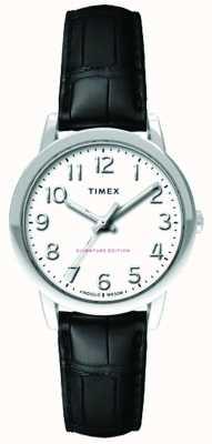 Timex Womens 30mm easy reader cinturino in coccodrillo nero quadrante bianco TW2R65300