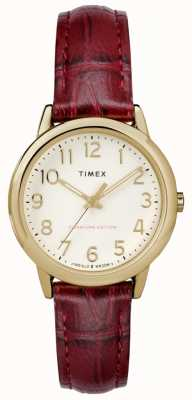Timex Quadrante color crema da donna con cinturino in coccodrillo bordeaux TW2R65400