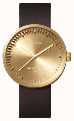 Leff Amsterdam Orologio tubolare d42 cassa in ottone cinturino in pelle marrone LT72022