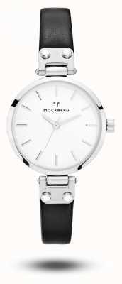 Mockberg Quadrante bianco cinturino in pelle nera petite Astrid MO202