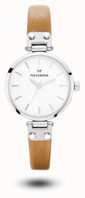 Mockberg Quadrante bianco con cinturino in pelle marrone petite wera da donna MO1404