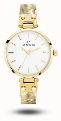 Mockberg Quadrante bianco da donna con cinturino in maglia color oro petite livia MO401