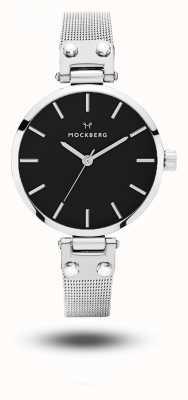 Mockberg Quadrante nero Elise petite noir con cinturino in maglia di acciaio nero MO404