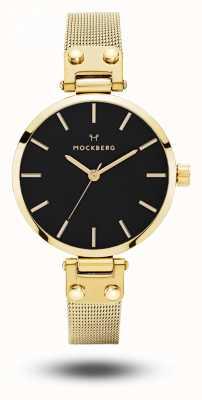 Mockberg Bracciale da donna livia petite noir con maglie in oro quadrante nero MO403
