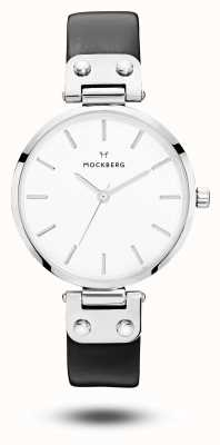 Mockberg Quadrante bianco cinturino in pelle nera Astrid MO1002