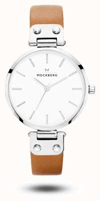 Mockberg Quadrante bianco con cinturino in pelle marrone wera da donna MO1006