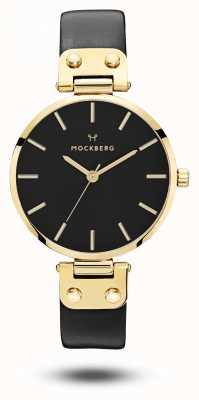 Mockberg Cassa nera con cassa in oro nero Saga con cinturino nero MO113