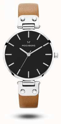 Mockberg Wera da donna quadrante nero cinturino marrone nero MO112