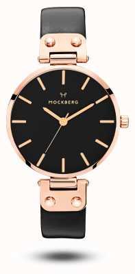 Mockberg Cinturino in cuoio nero placcato oro rosa Sigrid MO110