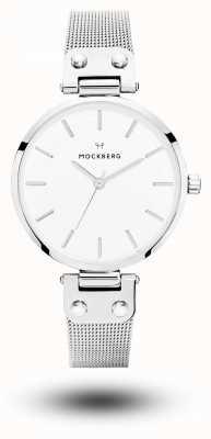 Mockberg Quadrante bianco con cinturino in maglia di acciaio inossidabile Elise MO1602