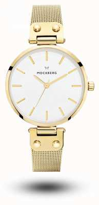 Mockberg Quadrante bianco da donna con cinturino in maglia placcata pvd oro livia MO1601
