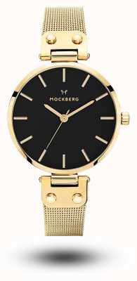 Mockberg Quadrante nero con quadrante nero placcato oro pvd livia noir MO1603