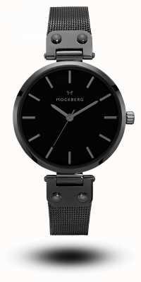 Mockberg Bracciale lio nero placcato in maglia nera con quadrante nero MO305