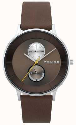 Police Orologio da uomo con cinturino in pelle marrone berkeley 15402JS/12
