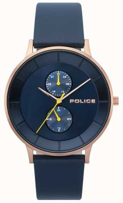 Police Orologio da uomo con cinturino in pelle blu berkeley 15402JSR/03