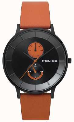 Police Orologio da uomo con cinturino in pelle arancione berkeley 15402JSB/02