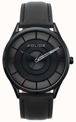 Police Cinturino in pelle nera burbank per uomo 15399JSB/02