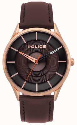 Police Orologio da uomo in pelle marrone burbank 15399JSR/12