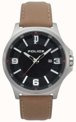 Police Orologio da uomo clan in pelle marrone chiaro 15384JS/02