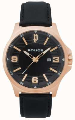 Police Orologio da uomo clan in pelle nera 15384JSR/02