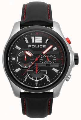 Police Mens denver cinturino in pelle nera e rossa 15403JSTB/02