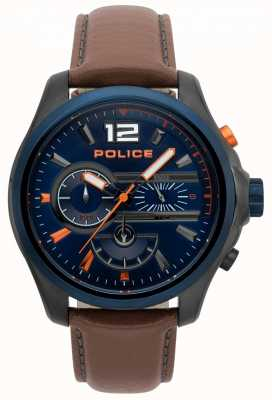 Police Orologio da uomo con cinturino in pelle marrone denver 15403JSUBL/03