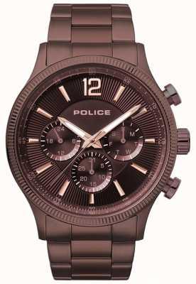 Police Orologio da polso maschile placcato in oro marrone con fermaglio 15302JSBN/12M