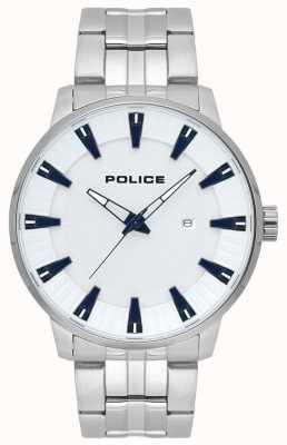 Police Orologio da uomo con quadrante bianco in acciaio inossidabile flint 15391JS/04M