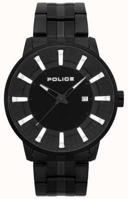 Police Orologio placcato da uomo in pvd nero flint 15391JSB/02M