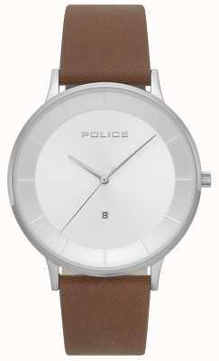 Police Orologio quadrante argentato da uomo in pelle marrone 15400JS/04