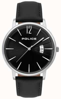 Police Orologio da uomo in pregiata pelle nera 15307JS/02