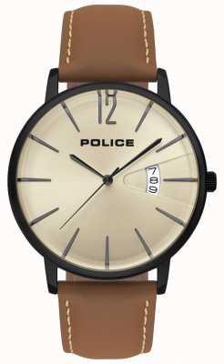 Police Orologio da uomo in pelle marrone di virtù 15307JSB/07
