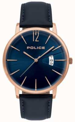 Police Orologio da uomo in pregiata pelle blu 15307JSR/03