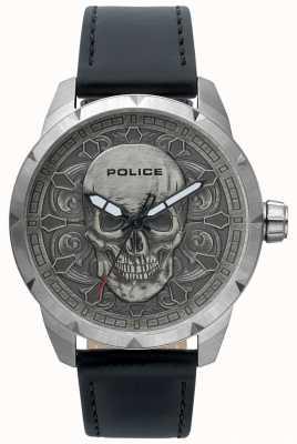 Police Orologio da uomo in pelle nera con quadrante cranio mistico 15397JS/57