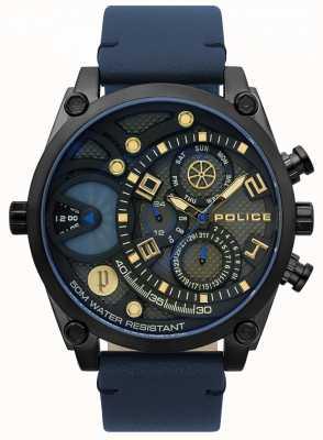 Police Orologio da uomo con cinturino in pelle blu 15381JSB/61
