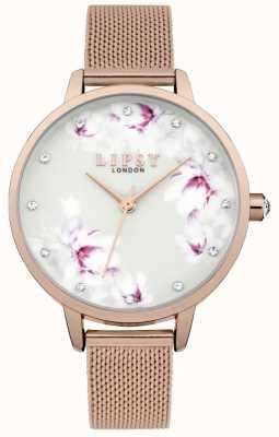 Lipsy Orologio a quadrante con fiore in maglia oro rosa LP577