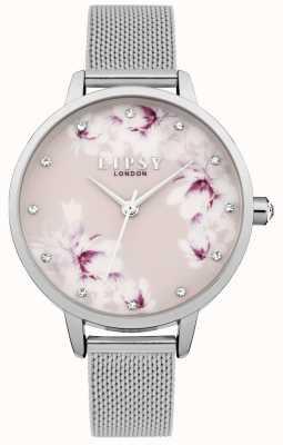 Lipsy Orologio da donna con quadrante floreale rosa a maglia argento LP576