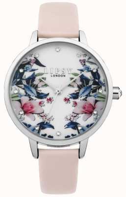 Lipsy Orologio a quadrante floreale con cinturino rosa da donna LP573