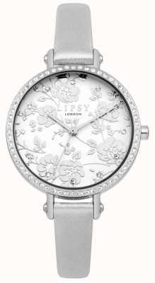 Lipsy Orologio a quadrante floreale con cinturino in argento da donna LP567
