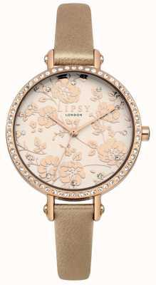 Lipsy Cinghia da donna con cinturino in oro con quadrante floreale in oro rosa LP584